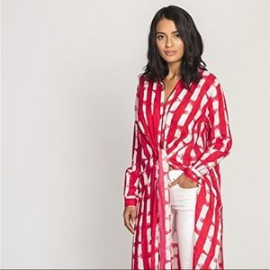 Solito Berry Check Longline Knotted Collared Shirt